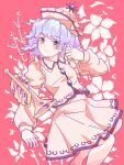 1girl blue_eyes eyebrows_visible_through_hair eyelashes floral_background hat highres instrument juliet_sleeves light_blue_hair long_sleeves looking_at_viewer merlin_prismriver open_mouth pink_background pink_headwear pink_shirt pink_skirt pink_vest puffy_sleeves shirt short_hair skirt touhou trumpet vest wasabisuke