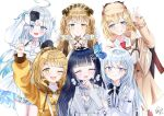 5girls :d ^_^ absurdres ahoge amatsuka_uto angel_wings aosai_nabi apron bag bangs black_footwear black_hair blonde_hair blue_eyes blue_hair blunt_bangs blush bow bow_earrings braid brown_hair bug butterfly butterfly_hair_ornament capelet cleavage_cutout closed_eyes clothing_cutout commentary creator_connection detached_sleeves detective dip-dyed_hair doll_joints dress earrings english_commentary eyebrows_visible_through_hair frilled_legwear frills full_body grey_skirt grey_sweater grin hair_ornament hairband hairclip halter_dress halter_top halterneck hat heterochromia hexagram_hair_ornament highres holding_hands hololive hololive_english hood hoodie indie_virtual_youtuber insect jewelry joints lolita_fashion lolita_hairband long_hair long_sleeves looking_at_viewer maesond mini_necktie monocle_hair_ornament multiple_girls off-shoulder_dress off_shoulder open_hands open_mouth plaid plaid_apron plaid_skirt ponytail red_neckwear ribbon sandwiched shiratori_rena shirt shorts silver_dress silver_hair silver_jacket simple_background skirt smile solo straight-on striped striped_legwear sweater tomo_(maesond) trait_connection transparent_background twin_braids twintails upper_body v virtual_youtuber voice-ore watson_amelia white_background white_shirt wing_hair_ornament wings yellow_eyes zikryzero