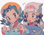 2girls :d bangs beanie blush clenched_hand closed_mouth commentary_request dawn_(pokemon) eye_contact eyelashes flying_sweatdrops gen_2_pokemon gen_4_pokemon gible grey_eyes hand_up hat hinann_bot jacket kris_(pokemon) long_sleeves looking_at_another multiple_girls open_mouth parted_bangs pokemon pokemon_(creature) pokemon_(game) pokemon_dppt pokemon_gsc scarf shiny shiny_hair smile totodile twintails white_background white_headwear white_jacket
