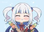 ^_^ bangs blue_hair blunt_bangs blush_stickers cape closed_eyes commentary dango eating english_commentary eyebrows_visible_through_hair food gawr_gura hair_ornament headband holding holding_food hololive hololive_english kamura_(armor) kukie-nyan long_hair monster_hunter_(series) monster_hunter_rise multicolored_hair saliva shark_hair_ornament silver_hair streaked_hair twitter_username two_side_up upper_body virtual_youtuber wagashi