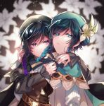 2boys androgynous bangs beret black_hair black_shirt blue_hair blurry blurry_background bow braid cape collared_cape commentary_request corset crying crying_with_eyes_open dark_persona dual_persona eyebrows_visible_through_hair flower frilled_sleeves frills genshin_impact gradient_hair green_eyes green_headwear hat hat_flower highres hug kokuchuutei leaf ligton1225 long_sleeves looking_at_viewer male_focus multicolored_hair multiple_boys purple_hair shirt short_hair_with_long_locks tears twin_braids venti_(genshin_impact) violet_eyes white_flower white_shirt
