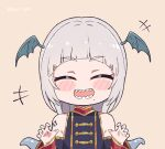 +++ :d ^_^ bangs bare_shoulders blunt_bangs blush_stickers chibi claw_pose closed_eyes commentary detached_sleeves english_commentary eyebrows_visible_through_hair head_wings indie_virtual_youtuber kukie-nyan long_hair mole mole_under_mouth open_mouth pochimaru_(vtuber) sharp_teeth silver_hair smile teeth tentacle_hair thick_eyebrows twitter_username virtual_youtuber