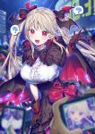 1girl 2others ? bat_hair_ornament black_skirt blonde_hair blush brown_gloves cape cellphone eyebrows_visible_through_hair fang frilled_shirt frills gloves hair_ornament hair_ribbon high-waist_skirt highres kirisaki_shuusei long_hair looking_at_viewer multiple_others night night_sky open_mouth original phone red_eyes ribbon shirt skirt sky smartphone spoken_question_mark taking_picture v-shaped_eyebrows vampire white_shirt
