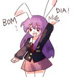 animal_ears bangs blouse buttons collared_blouse crescent crescent_pin light_purple_hair long_hair long_sleeves medium_skirt moon_rabbit necktie ngtk_k pink_skirt pleated_skirt portuguese_text purple_hair rabbit_ears red_eyes red_neckwear reisen_udongein_inaba skirt touhou translated waving white_blouse