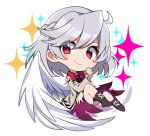 1girl bangs black_footwear bow bowtie braid chibi closed_mouth cross-laced_footwear dress eyebrows_visible_through_hair french_braid full_body grey_jacket highres jacket kishin_sagume kuroshirase long_sleeves looking_at_viewer purple_dress red_bow red_eyes red_neckwear short_hair silver_hair simple_background single_wing smile solo star_(symbol) touhou v-shaped_eyebrows white_background white_wings wings