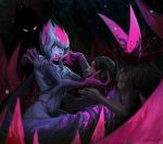 1girl artist_name black_hair bleeding blood blood_from_mouth blurry blurry_foreground claws colored_sclera colored_skin evelynn_(league_of_legends) facial_mark fingernails fire flame glowing glowing_eyes grey_hair grey_skin grin hair_between_eyes highres impaled league_of_legends looking_at_another looking_at_viewer medium_hair multicolored multicolored_hair navel parted_lips pink_fire purple_hair purple_lips purple_sclera r3p4aty_bow shadow signature slit_pupils smile spikes violet_eyes yellow_eyes