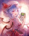 1girl 60mai bow card dress fang frills from_behind game_boy gen_1_pokemon handheld_game_console hat hat_bow looking_at_viewer open_mouth pikachu playing_card pokemon pokemon_(game) pokemon_rgby purple_hair red_eyes remilia_scarlet sitting solo staryu touhou wings