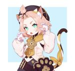1girl animal_ear_fluff animal_ears bangs bangs_pinned_back black_collar black_headwear black_skirt blue_background blush border bright_pupils cat_ears cat_girl cat_tail claw_pose collar commentary_request diona_(genshin_impact) eyelashes fangs genshin_impact gloves gradient_eyes green_eyes hands_up highres long_sleeves multicolored multicolored_eyes open_mouth parted_bangs paw_print pink_hair pouch puffy_sleeves ribbon shirt short_hair simple_background skirt solo sushi_171 tail tail_ornament tail_ribbon thick_eyebrows white_gloves white_pupils white_shirt yellow_eyes yellow_neckwear yellow_ribbon