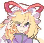 blonde_hair dress eyewear_on_head hat kaliningradg mob_cap smile tabard touhou violet_eyes white_dress yakumo_yukari