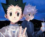 2boys :o alternate_costume bangs black_hair blue_eyes blue_sweater brown_eyes cup disposable_cup gon_freecss holding holding_cup hunter_x_hunter killua_zoldyck male_focus mountain multiple_boys night open_mouth outdoors selfie silver_hair sky smile spiky_hair sweater toripippi_7 v white_sweater