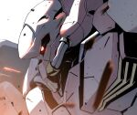 close-up glowing glowing_eye gundam gundam_hathaway's_flash highres kuri_giepi looking_ahead mecha messer_(mobile_suit) mobile_suit no_humans one-eyed red_eyes science_fiction solo