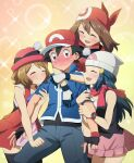 1boy 3girls arm_hug ash_ketchum bangs bare_arms baseball_cap beanie black_gloves black_hair black_legwear black_shirt blue_jacket blue_ribbon blush brown_eyes brown_hair clenched_hand closed_eyes closed_mouth collared_shirt commentary commission dawn_(pokemon) eyelashes fingerless_gloves gloves hair_between_eyes harem hat highres jacket legs_apart long_hair may_(pokemon) multiple_girls pants pink_headwear pokemon pokemon_(anime) pokemon_dppt_(anime) pokemon_rse_(anime) pokemon_xy_(anime) popped_collar red_bandana red_headwear red_shirt ribbon scarf serena_(pokemon) shirt short_hair short_sleeves sparkle suitenan sweatdrop wavy_mouth white_headwear |d
