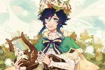 1boy androgynous bangs black_hair blue_hair bow braid brooch cape clouds cloudy_sky collared_cape collared_shirt corset dandelion_seed day eyebrows_visible_through_hair flower frilled_sleeves frills gem genshin_impact gradient_hair green_eyes grin highres holding holding_instrument instrument jewelry leaf long_sleeves looking_at_viewer lyre male_focus misu_025 multicolored_hair open_mouth outdoors red_flower shirt short_hair_with_long_locks sky smile solo symbol_commentary teeth twin_braids venti_(genshin_impact) white_flower white_shirt wreath