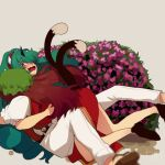 2girls animal_ears ass bare_legs belt black_footwear brown_hair cat_ears cat_tail chen china_dress chinese_clothes cloud_print curly_hair dress embarrassed feet_out_of_frame full_body geta green_eyes green_hair green_headwear hat himari-san_yanaika horns hug jewelry kariyushi_shirt komainu komano_aunn long_hair mob_cap multiple_girls multiple_tails nekomata pants pillow_hat puffy_short_sleeves puffy_sleeves red_shirt shirt short_sleeves single_earring single_horn tail touhou two_tails white_pants white_shirt