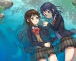 2girls adachi_sakura adachi_to_shimamura blazer blue_hair bow brown_eyes brown_hair commentary crescent day eye_contact hair_ornament hairclip highres holding_hands jacket kumakumatc light_blush looking_at_another multiple_girls open_mouth outdoors partially_submerged pond reflection rock school_uniform shadow shimamura_hougetsu skirt smile tree_shade water wet wet_clothes yuri