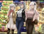 2021 3girls algerie_(azur_lane) archstreal artist_name azur_lane bag black_jacket black_legwear blue_eyes breasts brown_jacket brown_skirt christmas closed_mouth cross cross_earrings cross_necklace denim dress drill_locks dunkerque_(azur_lane) earrings eyebrows_visible_through_hair eyewear_on_head flower grey_hair hair_flower hair_ornament hairband hairclip happy_new_year highres holding holding_bag index_finger_raised jacket jeans jewelry large_breasts long_hair long_skirt looking_at_another looking_at_viewer medium_breasts multiple_girls nail_polish necklace new_year open_clothes open_jacket open_mouth pants pantyhose pink_nails pink_sweater red_scarf saint-louis_(azur_lane) scarf skirt standing sweater talking turtleneck turtleneck_sweater violet_eyes white_dress white_hair white_sweater