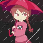1girl animated animated_gif bangs black_background blinking bow braid brown_hair closed_mouth dako_(dakosito) eyebrows_behind_hair hair_bow holding holding_umbrella long_sleeves looking_to_the_side madotsuki pink_bow pink_shirt pink_skirt pixel_art rain red_eyes red_umbrella shirt side_braids simple_background skirt solo twin_braids umbrella yume_nikki