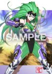 1girl aschen_brodel bangs bodysuit breasts clenched_hand commission covered_navel fingerless_gloves gloves green_eyes green_gloves green_hair long_hair looking_at_viewer medium_breasts open_hand parted_lips saitou_kazue sample skeb_commission solo spikes super_robot_wars super_robot_wars_og_saga_mugen_no_frontier