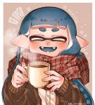 1girl ^_^ aoaza_83 bangs blue_hair blunt_bangs blush brown_cardigan cardigan closed_eyes cup domino_mask dress_shirt ear_blush fangs highres hikimayu holding holding_cup inkling long_sleeves mask open_mouth plaid plaid_scarf pointy_ears scarf shirt smile solo splatoon_(series) steam tentacle_hair