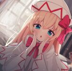 1girl :o bangs blonde_hair blue_eyes blush bow capelet commentary_request curtains day dress dutch_angle eyebrows_visible_through_hair face fang hair_between_eyes hands_on_own_cheeks hands_on_own_face hands_up hat hat_bow indoors lily_white long_hair looking_at_viewer open_mouth red_bow skin_fang solarisu solo touhou white_capelet white_dress white_headwear wide_sleeves window