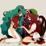 2girls animal_ears belt brown_hair cat_ears cat_tail chen china_dress chinese_clothes cloud_print curly_hair dress feet_out_of_frame full_body geta green_eyes green_hair green_headwear hat himari-san_yanaika holding_hands horns jewelry kariyushi_shirt komainu komano_aunn long_hair mob_cap multiple_girls multiple_tails nekomata pants pillow_hat puffy_short_sleeves puffy_sleeves red_shirt shirt short_sleeves single_earring single_horn tail touhou two_tails white_pants white_shirt