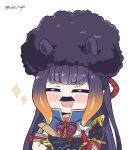 :d ^_^ afro armor bangs black_hair blunt_bangs blush_stickers closed_eyes commentary crossed_arms english_commentary eyebrows_visible_through_hair facial_hair gradient_hair highres hime_cut hololive hololive_english kamura_(armor) kukie-nyan long_hair monster_hunter_(series) monster_hunter_rise multicolored_hair mustache ninomae_ina'nis open_mouth orange_hair purple_hair sidelocks simple_background smile sparkle tentacle_hair twitter_username upper_body virtual_youtuber white_background