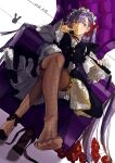 1girl absurdres apron bb_(fate) bb_(fate)_(all) black_dress chair crossed_legs dress fate/grand_order fate_(series) fishnet_legwear fishnets high_heels highres holding holding_whip long_hair looking_at_viewer maid maid_apron purple_hair ribbon simple_background sitting solo violet_eyes whip white_background yolanda