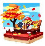 1girl 2boys autumn autumn_leaves bench blue_overalls blue_sky bobby_(paper_mario) brown_footwear brown_hair clouds commentary_request day facial_hair falling_leaves flower gloves hat leaf long_sleeves looking_to_the_side maple_leaf mario mario_(series) multiple_boys mustache olivia_(paper_mario) on_bench outdoors outline overalls paper_mario paper_mario:_the_origami_king park_bench purple_flower red_headwear red_shirt sakino_(sanodon) shirt shoes short_hair sitting sitting_on_bench sky solid_oval_eyes star_(symbol) tree white_gloves white_outline yellow_headwear