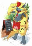 apron blue_eyes bush claws commentary_request fangs furry gen_7_pokemon hat hatted_pokemon highres matra_usagi milestone_celebration mythical_pokemon number open_mouth plant poke_ball_print pokemon pokemon_(creature) potted_plant red_headwear red_neckwear sign solo standing tongue waist_apron yellow_fur zeraora