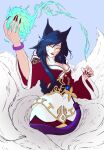 1girl absurdres ahri animal_ear_fluff animal_ears blue_hair bracelet closed_mouth eyebrows_visible_through_hair facial_mark fingernails fire flame fox_ears fox_tail hair_between_eyes highres hitodama jewelry kitsune league_of_legends long_fingernails long_hair long_sleeves multiple_tails red_lips red_nails sharp_fingernails smile solo tail talos198 very_long_fingernails whisker_markings wide_sleeves yellow_eyes