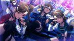 akizuki_ritsuko brown_eyes brown_hair futami_ami futami_mami idolmaster_million_live!_theater_days jacket long_hair short_hair violet_eyes