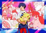6+boys absurdres alolan_exeggutor alolan_form archie_(pokemon) bangs black_hair bruno_(pokemon) clouds commentary_request drayden_(pokemon) gen_1_pokemon gen_3_pokemon gen_7_pokemon gotcha! gotcha!_boy_(pokemon) hair_between_eyes hala_(pokemon) highres hiker_(pokemon) holding holding_pokemon incineroar kukui_(pokemon) looking_to_the_side marshal_(pokemon) matt_(pokemon) multiple_boys open_mouth pikachu pokemon pokemon_(creature) raichu sharpedo shirt short_hair short_sleeves sky surge_(pokemon) sweat tofu_(pixiv10770344) wulfric_(pokemon)