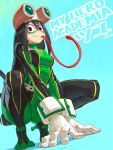 1girl asui_tsuyu black_eyes black_hair blue_background bodysuit boku_no_hero_academia breasts character_name commentary_request copyright_name gloves goggles goggles_on_head gradient gradient_background green_bodysuit long_hair long_tongue looking_at_viewer mask medium_breasts shuichi_wada simple_background solo squatting tongue very_long_tongue white_gloves