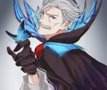 1boy black_cape black_gloves blue_butterfly blue_eyes bug butterfly butterfly_on_finger cape facial_hair fate/grand_order fate_(series) gloves hair_between_eyes hair_slicked_back insect james_moriarty_(fate) long_sleeves male_focus mustache old old_man simple_background sketch solo trstfx_(lina) upper_body