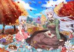 2girls absurdres alternate_costume autumn autumn_leaves azur_lane belfast_(azur_lane) blue_sky book braid bread breasts brown_dress bud_(znehgneh2) bug butterfly butterfly_on_nose clouds cup dress eyebrows_visible_through_hair flower food highres huge_filesize insect juliet_sleeves large_breasts leaf little_bel_(azur_lane) long_hair long_sleeves looking_at_viewer maple_leaf multiple_girls open_book outdoors picnic picnic_basket pink_dress pink_flower puffy_sleeves purple_hair red_flower shirt sky tea teacup teapot tree violet_eyes white_shirt