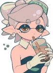 +_+ 1girl absurdres bare_shoulders brown_eyes bubble_tea detached_collar domino_mask drinking eyebrows_visible_through_hair gloves grey_hair highres looking_at_viewer marie_(splatoon) mask pointy_ears short_hair simple_background solo splatoon_(series) splatoon_1 svv_art white_background white_gloves