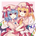 2girls :3 :d absurdres ascot bangs bat_wings blonde_hair blue_hair border bow brooch cowboy_shot crystal eyebrows_visible_through_hair flandre_scarlet hat hat_bow highres hug jewelry looking_at_viewer medium_hair mob_cap multiple_girls open_mouth pink_background pink_headwear pink_shirt pink_skirt puffy_short_sleeves puffy_sleeves red_bow red_eyes red_skirt red_vest remilia_scarlet shirt short_hair short_sleeves side_ponytail simple_background skirt smile standing subaru_(subachoco) touhou vest white_border white_bow wings yellow_neckwear