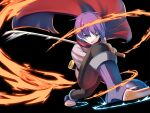 1boy black_background blue_eyes boots cape embers luka_(mon-musu_quest!) mon-musu_quest! mon-musu_quest:_paradox open_mouth purple_hair shiki_(psychedelic_g2) short_hair simple_background solo sword weapon