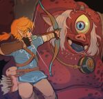 1boy absurdres arrow_(projectile) belt blonde_hair blue_shirt bow_(weapon) bracelet colored_skin cyclops eyebrows_visible_through_hair feet_out_of_frame highres hinox holding holding_bow_(weapon) holding_weapon jewelry link long_sleeves one-eyed ponytail profile red_skin shirt short_over_long_sleeves short_sleeves solo svv_art the_legend_of_zelda the_legend_of_zelda:_breath_of_the_wild weapon