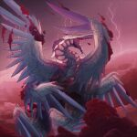 clouds creature dragon fangs fantasy fire_emblem fire_emblem_awakening flying grima_(fire_emblem) harerious highres horns lightning looking_to_the_side open_mouth painting red_clouds red_sky scales sky teeth wings