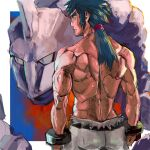 1boy black_hair bruno_(pokemon) closed_mouth commentary_request elite_four from_behind gen_1_pokemon grey_pants hair_tie long_hair male_focus muscular muscular_male onix pants pokemon pokemon_(creature) pokemon_(game) pokemon_hgss ponytail shirtless sideburns spiky_hair tied_hair tofu_(pixiv10770344)