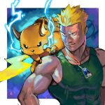 1boy bare_arms biceps black_eyes blonde_hair closed_mouth collarbone commentary_request covered_nipples dog_tags electricity gen_1_pokemon green_tank_top gym_leader looking_to_the_side male_focus muscular muscular_male on_shoulder pectorals pokemon pokemon_(creature) pokemon_(game) pokemon_hgss pokemon_on_shoulder raichu short_hair smile spiky_hair surge_(pokemon) tank_top tofu_(pixiv10770344) upper_body