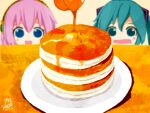 2girls aqua_eyes aqua_hair blue_eyes blurry blurry_background blush butter commentary depth_of_field food food_focus hair_ornament hatsune_miku headphones honey megurine_luka multiple_girls niidonroad open_mouth pancake pink_hair plate saliva signature smile stack_of_pancakes vocaloid