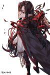 1boy black_hair blood blood_mage_(dungeon_and_fighter) cape dungeon_and_fighter earrings jewelry kasy long_hair looking_at_viewer looking_back male_mage_(dungeon_and_fighter) pointy_ears ponytail red_eyes scar scar_on_cheek scar_on_face