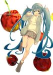 1girl apple aqua_eyes aqua_hair blue_jacket bokarokaku commentary cup disposable_cup drawstring food fruit grey_skirt half-closed_eyes hatsune_miku highres holding holding_cup hood hoodie jacket leg_up long_hair looking_at_viewer miniskirt open_mouth pleated_skirt skirt solo string_phone twintails very_long_hair vocaloid white_background white_hoodie