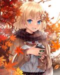 1girl absurdres anonamos autumn_leaves black_hair blue_eyes capelet coffee_cup cup disposable_cup grin hair_ornament highres hololive hololive_english leaf long_sleeves looking_at_viewer maple_leaf medium_hair monocle_hair_ornament scarf smile twitter_username upper_body virtual_youtuber watson_amelia