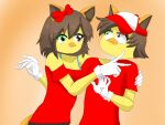 1boy 1girl angry animal_ears bird brown_eyes brown_hair cat_ears cat_tail colored_skin disembodied_head genderswap gloves green_eyes hair_ornament headless jimmy09 monster_boy monster_girl original red_headwear red_ribbon red_shirt ribbon self_upload shirt tail white_gloves yellow_skin youtube