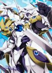 1boy armor blue_sky cannon clouds cloudy_sky colorized divine_dividing energy_wings full_armor gauntlets helmet high_school_dxd highres horns large_wings maximilian-destroyer miyama-zero pauldrons shoulder_armor single_horn sky vali_lucifer white_armor wings yellow_eyes