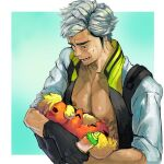 1boy baby_bottle black_gloves black_hair border bottle coat commentary_request facial_hair gen_1_pokemon gloves green_background grey_hair growlithe holding holding_bottle holding_pokemon labcoat looking_down male_focus multicolored_hair nipples open_clothes open_coat outside_border pokemon pokemon_(creature) pokemon_(game) pokemon_go short_hair sweat tofu_(pixiv10770344) two-tone_hair upper_body white_border willow_(pokemon)