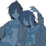2girls :| arm_up backlighting bangs blue_theme blunt_bangs blush book bright_pupils cardigan closed_eyes closed_mouth couple eyes_visible_through_hair hatching_(texture) head_on_another's_shoulder hibike!_euphonium high_ponytail kasaki_nozomi kitauji_high_school_uniform leaning_on_person leaning_to_the_side linear_hatching liz_to_aoi_tori long_hair long_sleeves looking_at_another looking_to_the_side multiple_girls neckerchief nose_blush open_book open_cardigan open_clothes parted_lips ponytail puffy_long_sleeves puffy_sleeves ree_(re-19) sailor_collar school_uniform serafuku shirt side-by-side simple_background sitting sleeping sleeping_on_person sleeping_upright sweat tareme upper_body watch watch white_background white_pupils yoroizuka_mizore yuri